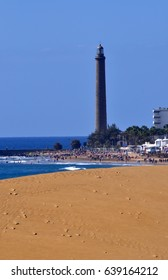 lighthouse and beach view in maspalomas - gran canaria canary island in spain