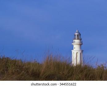 Lighthouse behind grassy dunes