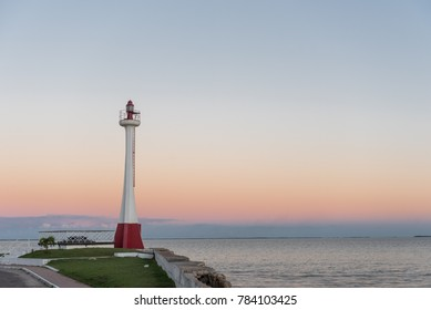 Lighthouse in Belize. Sunset light with Caribbean sea in Background