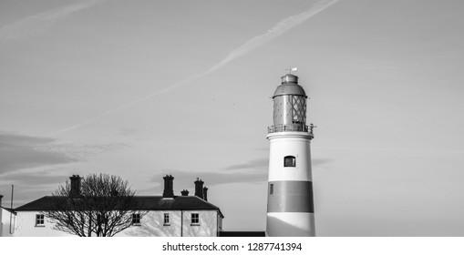 lighthouse in black and white in sunderland UK