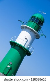 lighthouse with blue sky in warnemuende