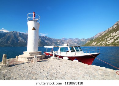 Lighthouse with boat at Our lady the rock island Panoramic view at kotor of Montenegro,UNESCO world heritage site