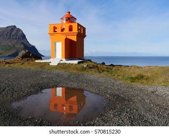 lighthouse in Bolungarvik Osholaviti in iceland
