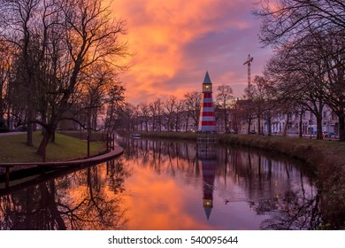 Lighthouse in Breda by the sunset