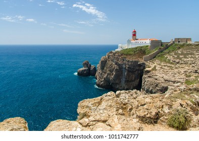Lighthouse Cabo de Sao Vicente Cape San Vincente cliffs south-west point of Europe and Eurasia near Sagres in Algarve, Portugal