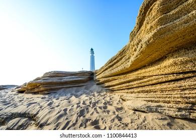 Lighthouse Cabo de Trafalgar, Barbate, Cadiz, Andalusia, Spain, Iberian Peninsula
