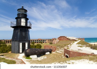 The lighthouse and cannon atop Fort Jefferson in the Dry Tortugas National Park