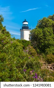 Lighthouse at Cap Camarat near Ramatuelle in the Department Var of the province Provence-Alpes-Cote d Azur