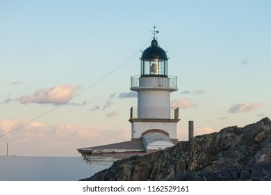 Lighthouse of the Cap de Creus Natural Park, the westernmost point of Spain, where the sun first rises. Cadaques, Catalonia, Spain.