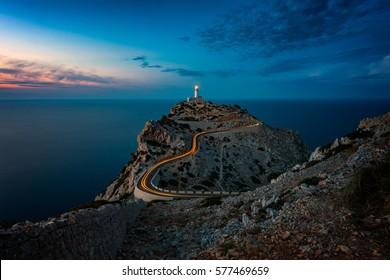 Lighthouse at Cap Formentor Mallorca at dusk