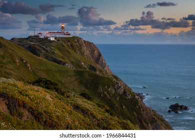 Lighthouse at Cape Cabo da Roca near the city of Cascais, Portugal. Cape Roca is the most western point of continental Europe.