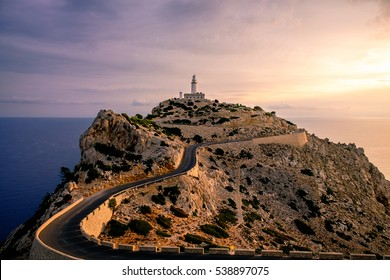 Lighthouse at Cape Formentor in the Coast of North Mallorca, Spain ( Balearic Islands ). Artistic sunrise landascape