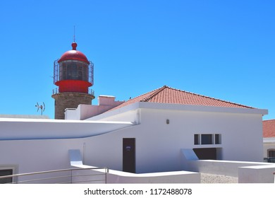 Lighthouse at Cape of Saint Vincent, Portugal, the most southwestern point of Europe.
