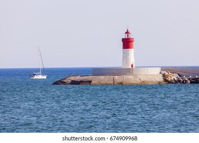 Lighthouse in Cartagena. Cartagena, Murcia, Spain.