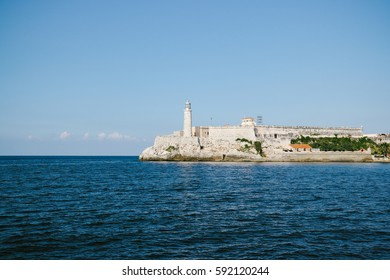 The Lighthouse and the Castle of Tres Reyes del Morro (Morro Castle) at the port of Havana, Cuba