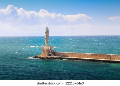 Lighthouse Of Chania (Egyptian ) Pharos. One of the oldest lighthouses .Chania port. Greece Crete Chania
