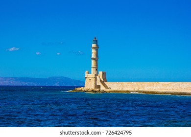 Lighthouse in Chania old harbour. Greece, Crete