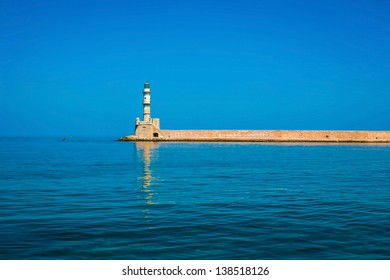 Lighthouse in Chania on island of Crete, Greece
