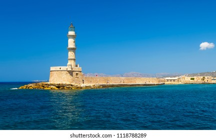 Lighthouse in Chania town. Good, Sunny weather. The island of Crete.