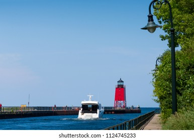 Lighthouse in Charlevoix on Lake Michigan