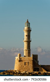 Lighthouse and cloudy sky. This lighthouse is located in Chania city, Crete