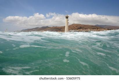 Lighthouse at the Coast of Canary Island Fuerteventura