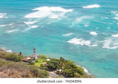 Lighthouse at the coast of Oahu near Diamond Head, Honolulu