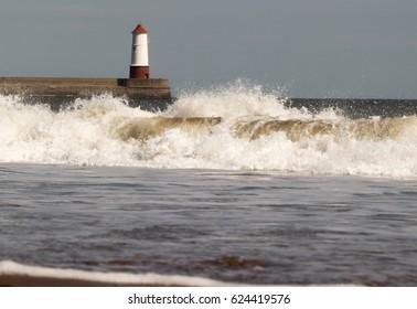 Lighthouse with Crashing Waves