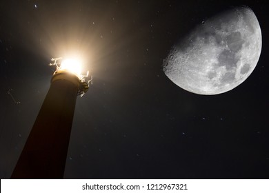 Lighthouse and crescent moon - artist impression