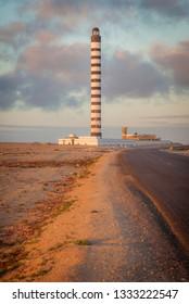 Lighthouse in Dakhla at sunset. Dakhla, Western Sahara, Morocco.