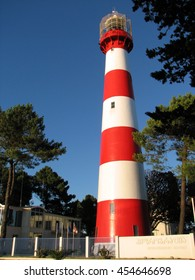 Lighthouse in the daytime on the Black Sea, Georgia Poti. Red and white. against the clear blue sky near trees.