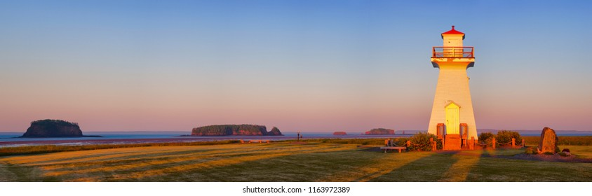 Lighthouse during sunrise at Five Islands, Nova Scotia.