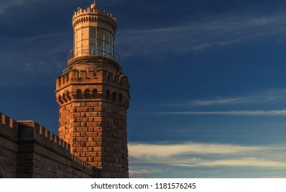 Lighthouse during sunset in Highlands, New Jersey.