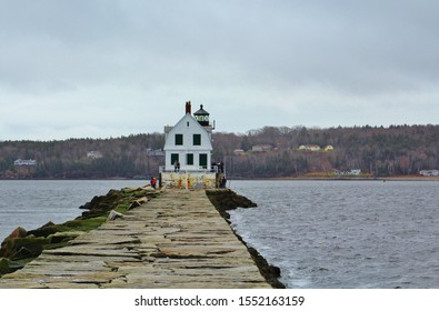 Lighthouse at the end of the Rockland ME breakwater