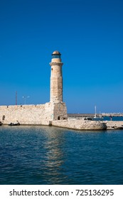 Lighthouse at the entrance to the old Venetian harbour, Rethymno, Crete, Greece