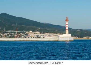 Lighthouse at the entrance to the port of Novorossiysk, Russia