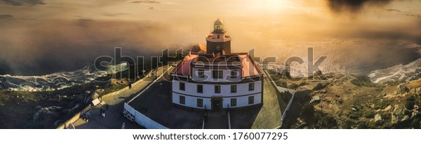 Lighthouse of Finisterre in Galicia,Spain. Aerial view by drone