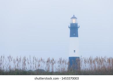 Lighthouse at foggy morning, Tybee island, USA