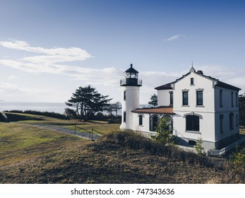 Lighthouse at Fort Casey on Sunny Fall Day on Whidbey Island, WA