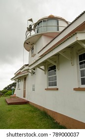 The lighthouse at Fort King George in Tobago's capital city Scarborough.  Keeping ships in the Caribbean Sea safe from the surrounding rocks.  Overcast day in January.