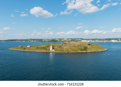 Lighthouse and fortification, Georges Island, Halifax, Nova Scotia, Canada