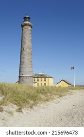 The lighthouse Grenen (called Grey Tower) near Skagen (Denmark, North Jutland) at the junction of Skagerrak (North Sea) and Kattegat (Baltic Sea) is the second highest Danish lighthouse.