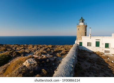 Lighthouse Gria on the north coast of the Greek island of Andros in the Cyclades archipelago