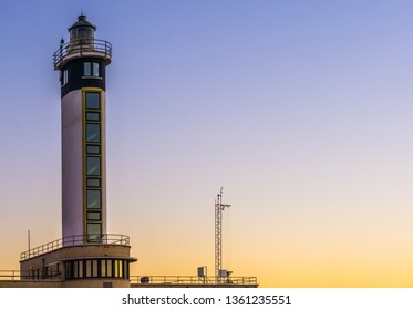 the lighthouse in the harbor of Blankenberge, Belgium, Modern Belgian architecture