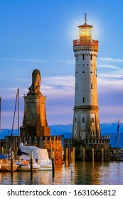 Lighthouse in harbour entrance of Lindau. Bavaria, Germany