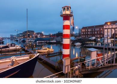 Lighthouse in Hasselt at night. Hasselt, Flemish Region, Belgium.