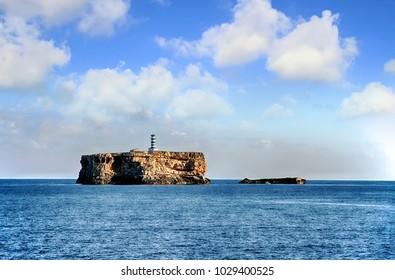 Lighthouse of Isla Plana in the archipelago of Cabrera island.