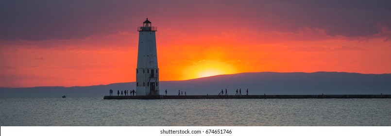 Lighthouse in the Lake of Michigan