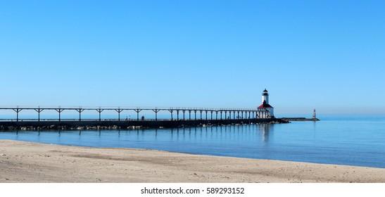 LightHouse at the Lake Michigan - postcard