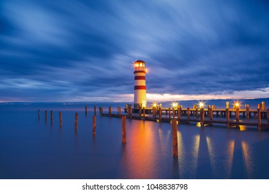 Lighthouse at Lake Neusiedl (Podersdorf am See) at sunset, Burgenland, Austria